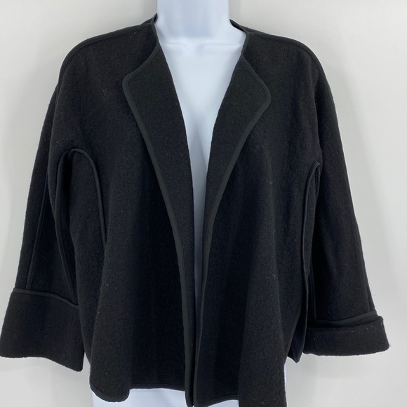 LOFT Sweaters - Ann Taylor Loft Black Wool Blend Open Cardigan S